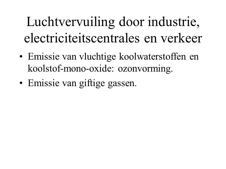 Luchtvervuiling door industrie, electriciteitscentrales en verkeer