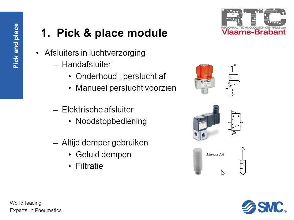 1. Pick & place module Afsluiters in luchtverzorging Handafsluiter