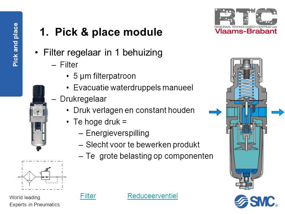 1. Pick & place module Filter regelaar in 1 behuizing Filter