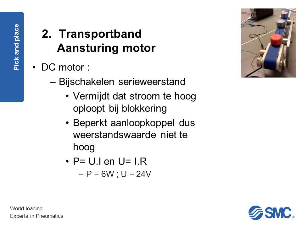 Transportband Aansturing motor DC motor : Bijschakelen serieweerstand