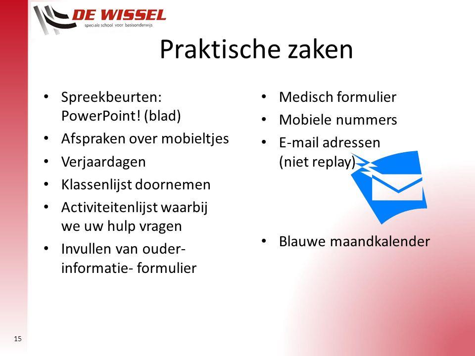Praktische zaken Spreekbeurten: PowerPoint! (blad)