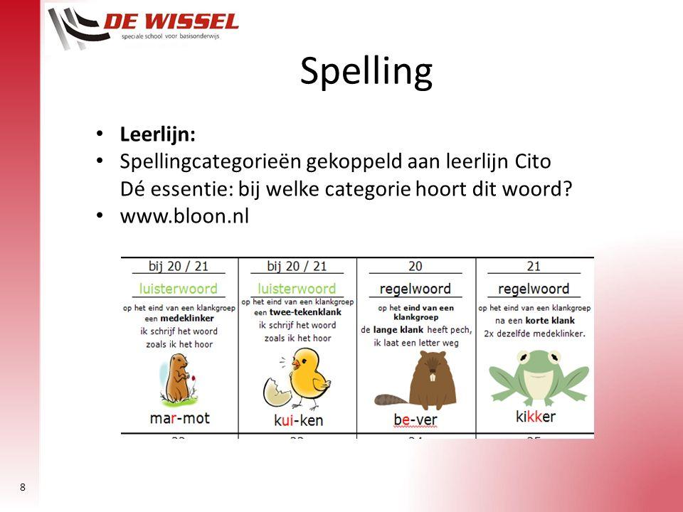 Spelling Leerlijn: Spellingcategorieën gekoppeld aan leerlijn Cito Dé essentie: bij welke categorie hoort dit woord