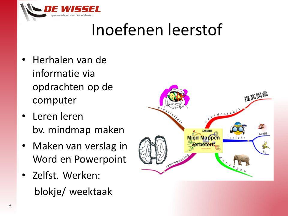 Inoefenen leerstof Herhalen van de informatie via opdrachten op de computer. Leren leren bv. mindmap maken.