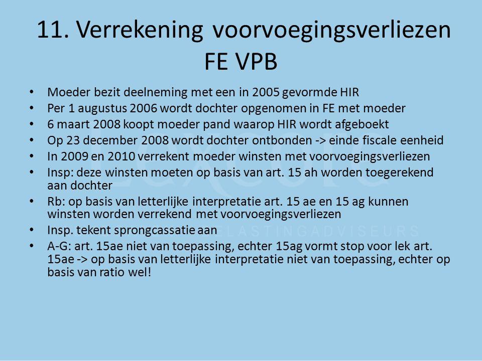 11. Verrekening voorvoegingsverliezen FE VPB