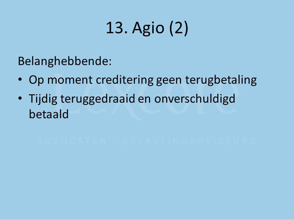 13. Agio (2) Belanghebbende: Op moment creditering geen terugbetaling