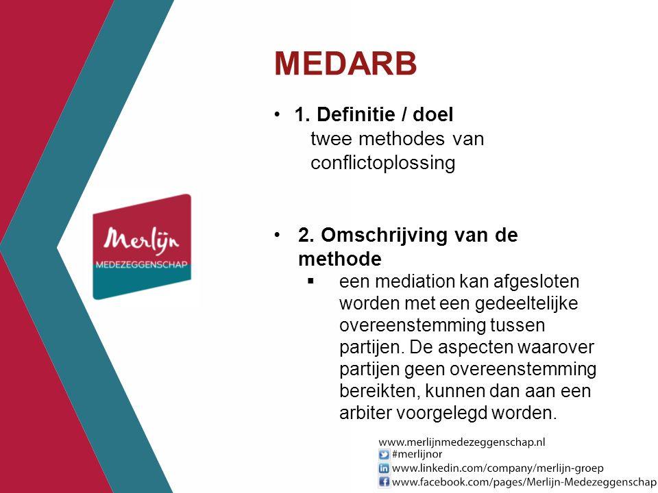 MEDARB 1. Definitie / doel twee methodes van conflictoplossing