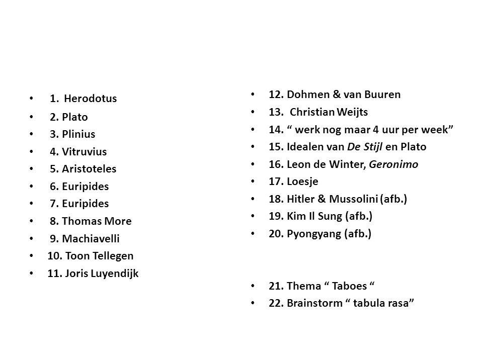 1. Herodotus 2. Plato. 3. Plinius. 4. Vitruvius. 5. Aristoteles. 6. Euripides. 7. Euripides. 8. Thomas More.