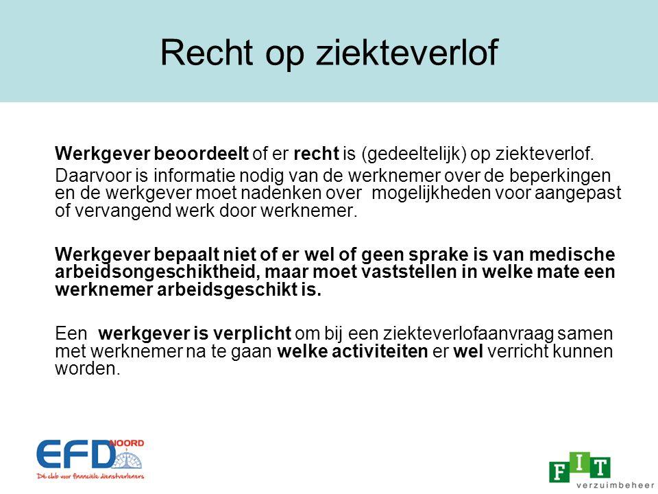 Recht op ziekteverlof Werkgever beoordeelt of er recht is (gedeeltelijk) op ziekteverlof.