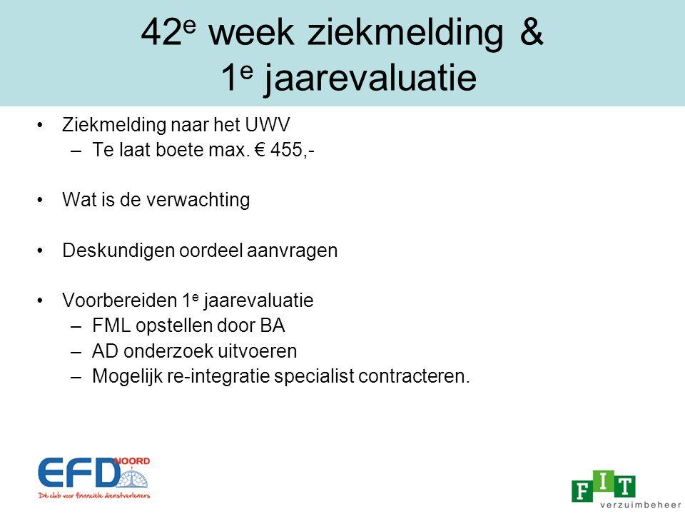 42e week ziekmelding & 1e jaarevaluatie