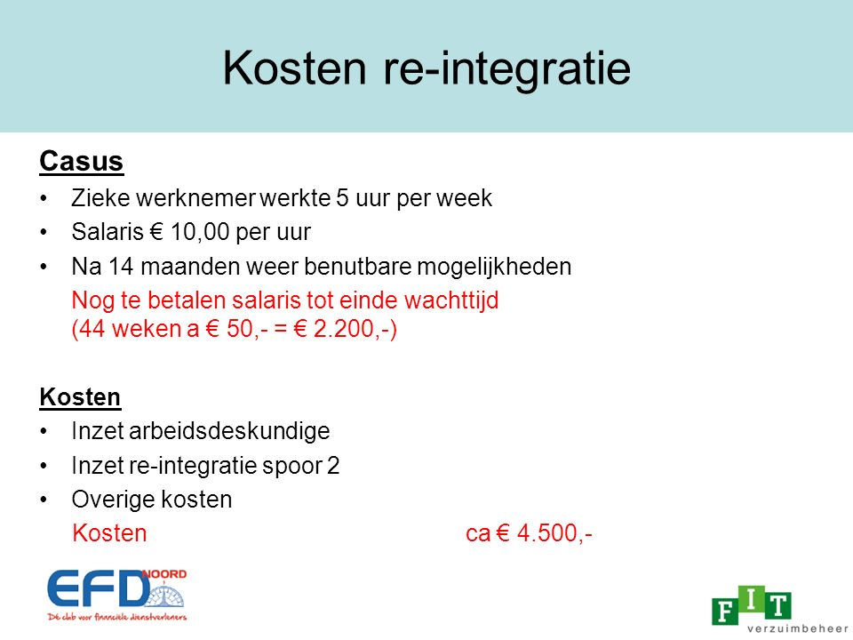 Kosten re-integratie Casus Zieke werknemer werkte 5 uur per week