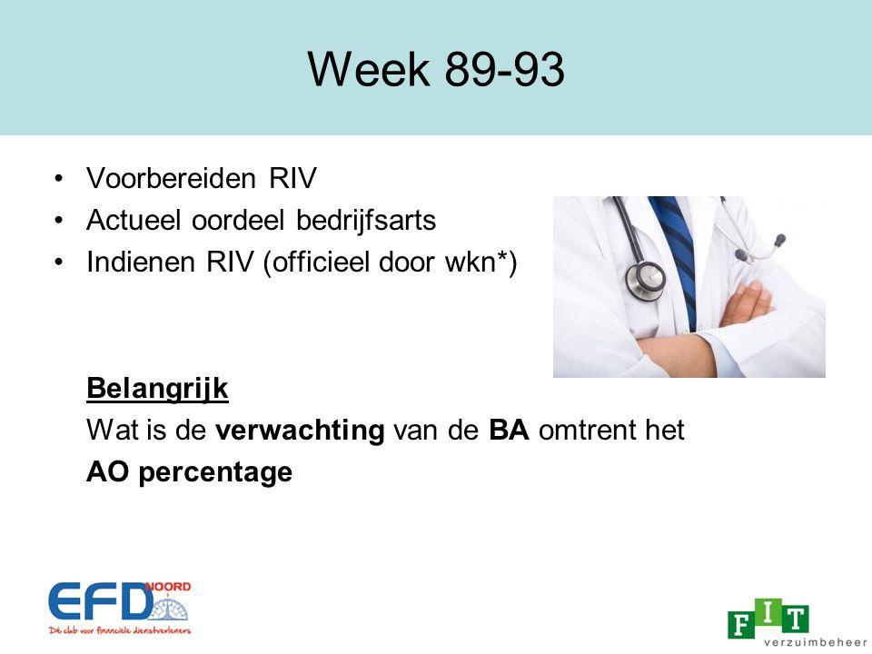 Week 89-93 Voorbereiden RIV Actueel oordeel bedrijfsarts