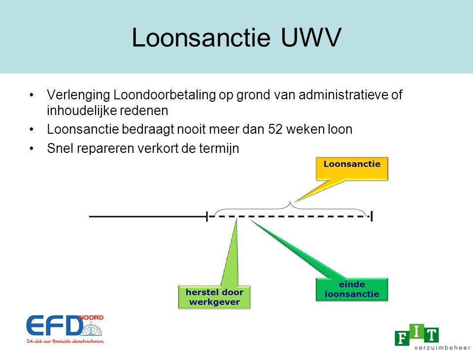 Loonsanctie UWV Verlenging Loondoorbetaling op grond van administratieve of inhoudelijke redenen. Loonsanctie bedraagt nooit meer dan 52 weken loon.