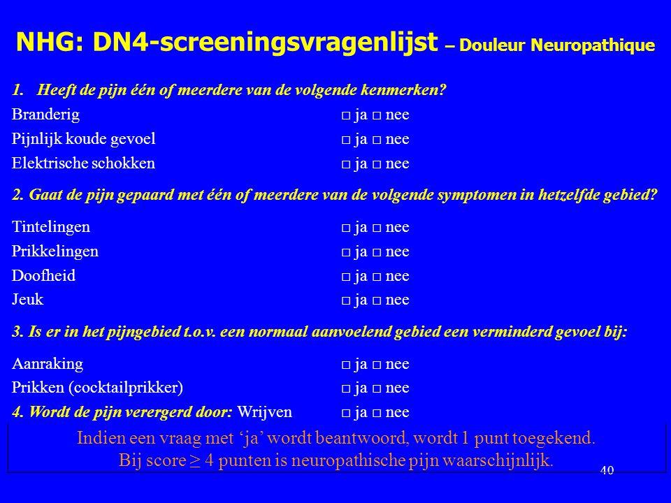 NHG: DN4-screeningsvragenlijst – Douleur Neuropathique