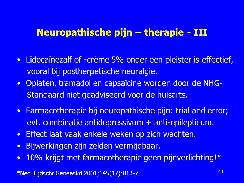 Neuropathische pijn – therapie - III