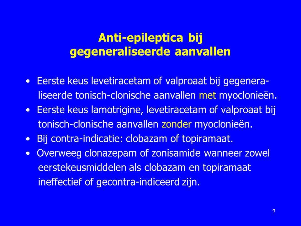 Anti-epileptica bij gegeneraliseerde aanvallen