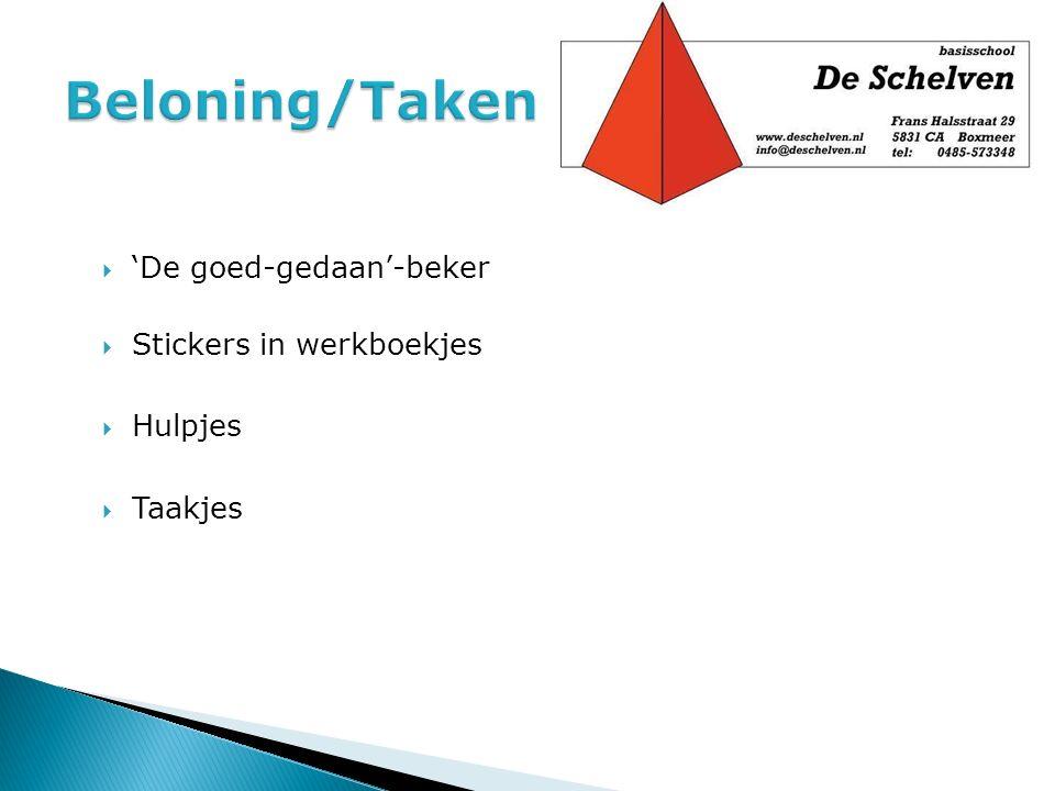 Beloning/Taken 'De goed-gedaan'-beker Stickers in werkboekjes Hulpjes