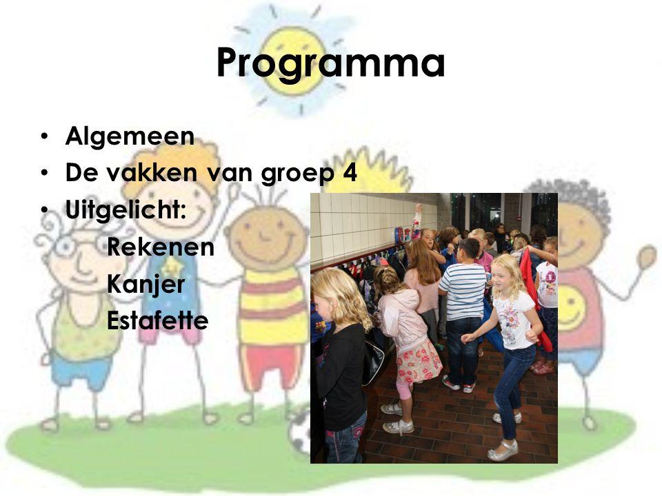 Programma Algemeen De vakken van groep 4 Uitgelicht: Rekenen Kanjer