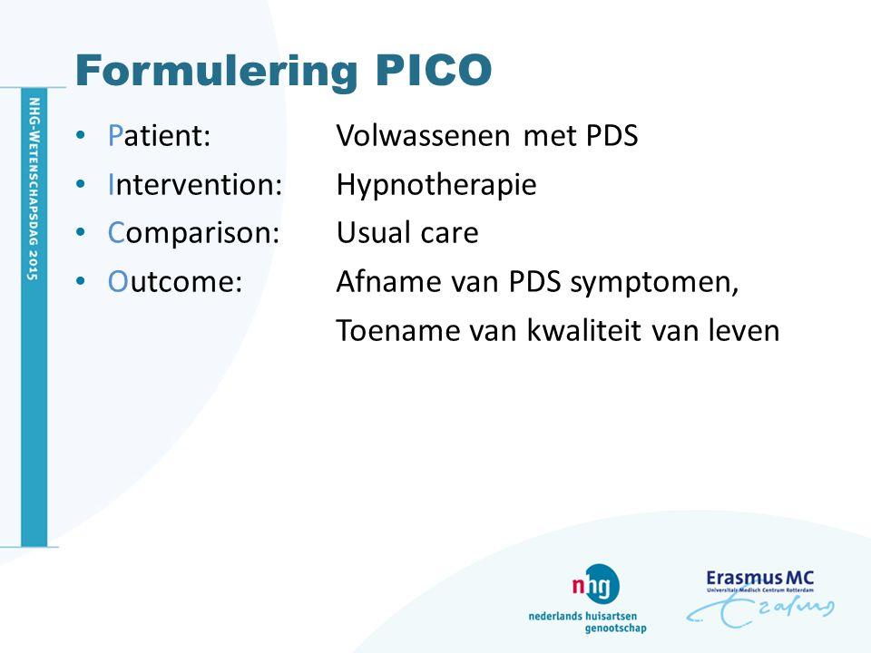 Formulering PICO Patient: Volwassenen met PDS