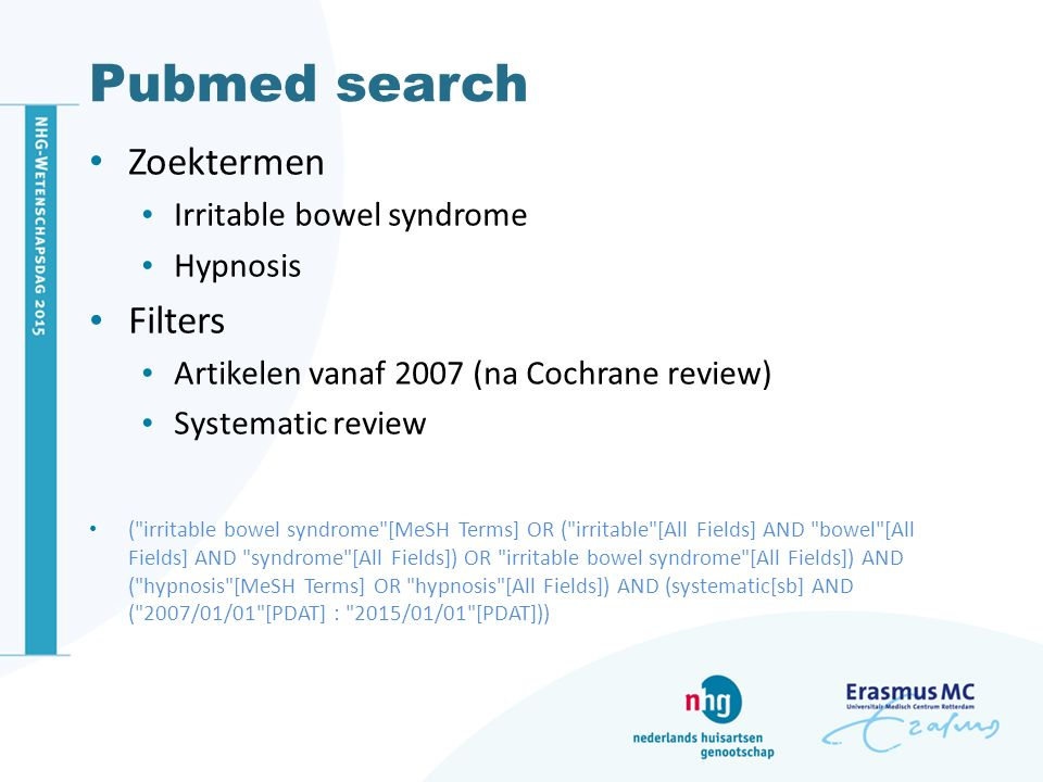 Pubmed search Zoektermen Filters Irritable bowel syndrome Hypnosis