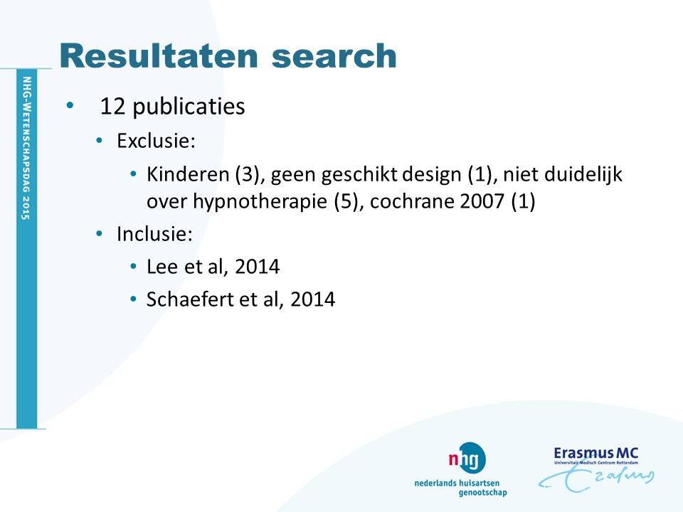 Resultaten search 12 publicaties Exclusie: