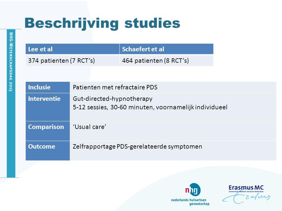 Beschrijving studies Lee et al Schaefert et al 374 patienten (7 RCT's)