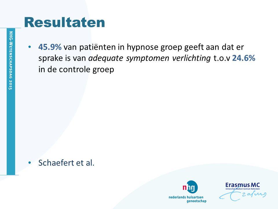 Resultaten 45.9% van patiënten in hypnose groep geeft aan dat er sprake is van adequate symptomen verlichting t.o.v 24.6% in de controle groep.