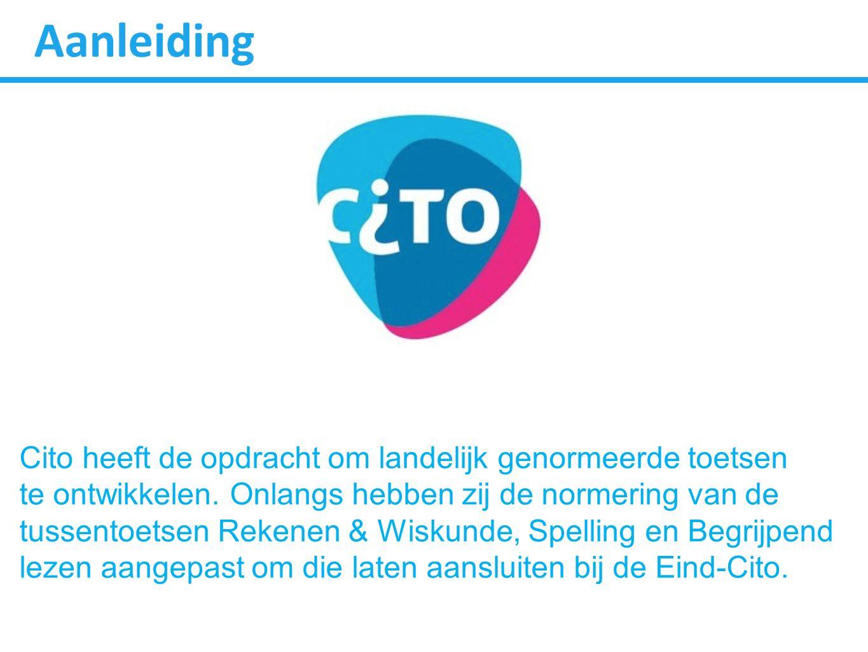 Aanleiding Cito heeft de opdracht om landelijk genormeerde toetsen