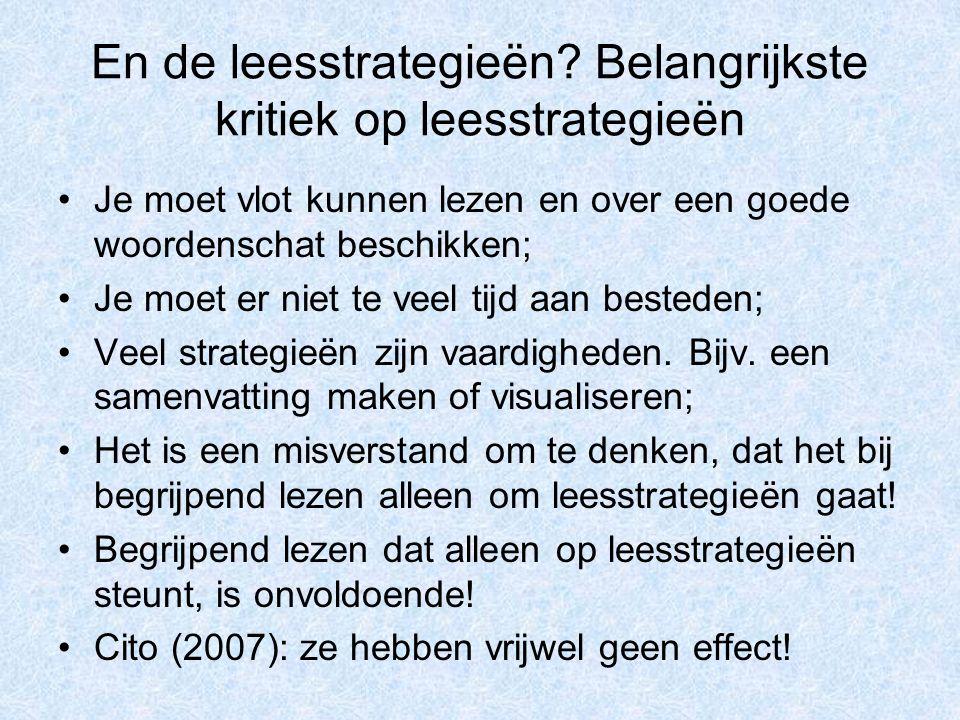 En de leesstrategieën Belangrijkste kritiek op leesstrategieën
