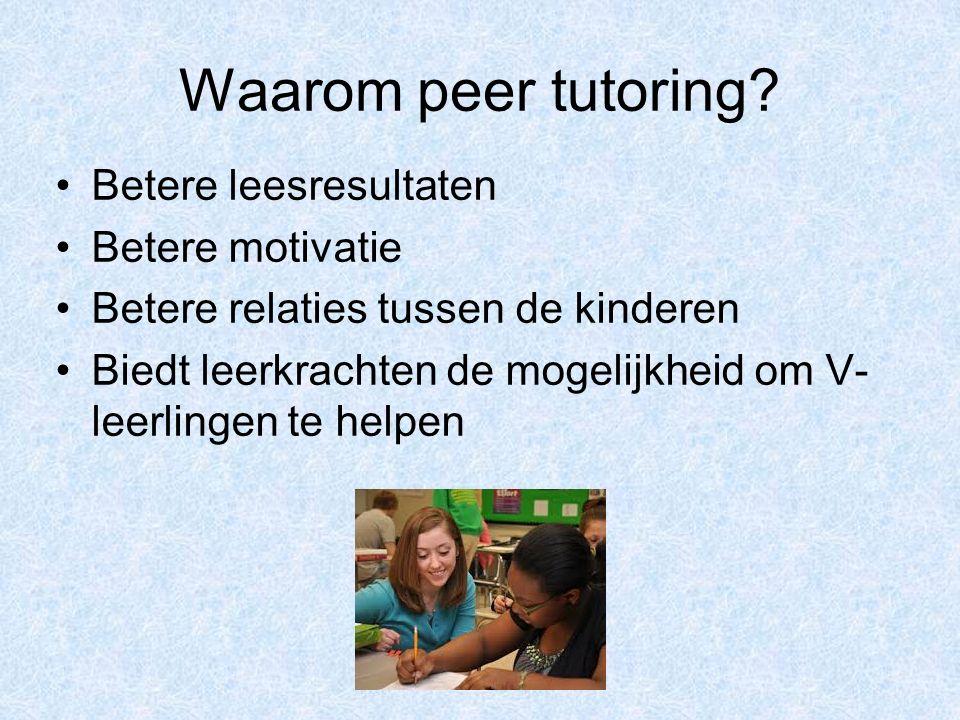 Waarom peer tutoring Betere leesresultaten Betere motivatie