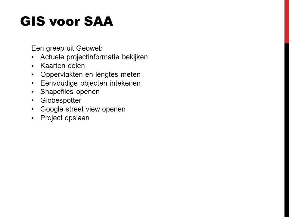 GIS voor SAA Een greep uit Geoweb Actuele projectinformatie bekijken