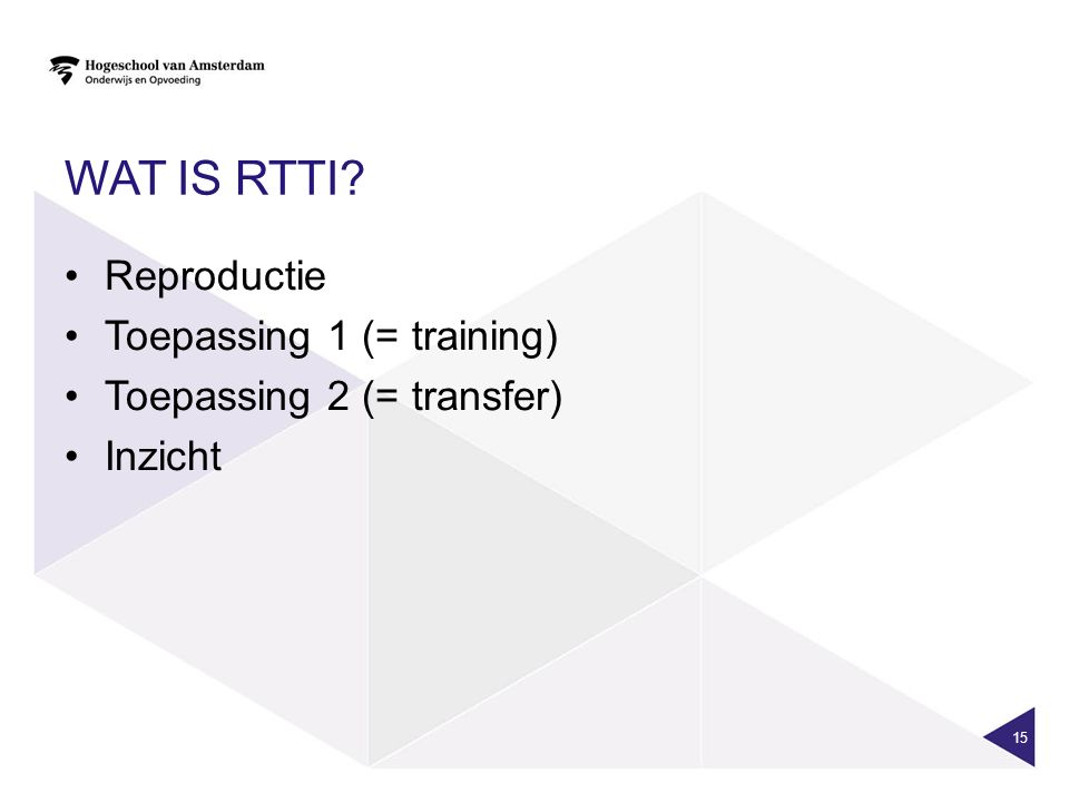 Wat is RTTI Reproductie Toepassing 1 (= training)