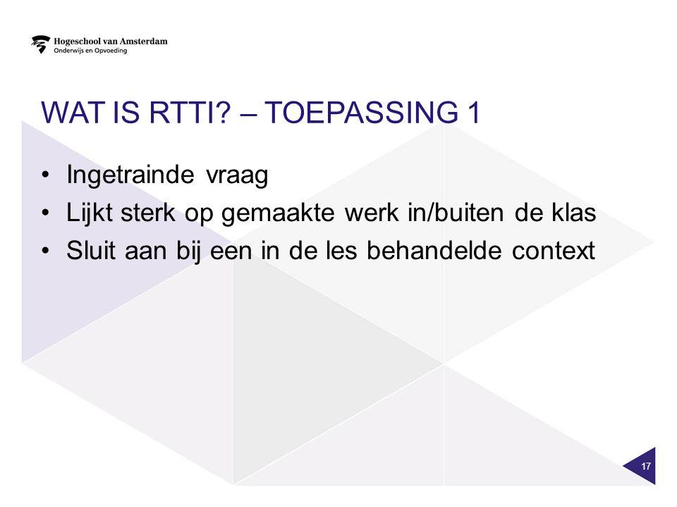 Wat is RTTI – Toepassing 1