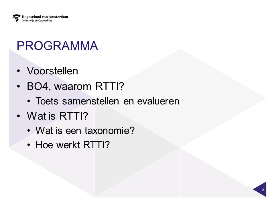 programma Voorstellen BO4, waarom RTTI Wat is RTTI
