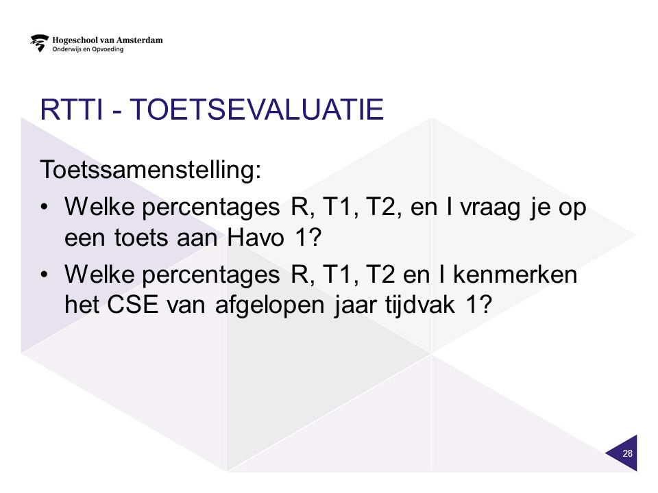 RTTI - toetsevaluatie Toetssamenstelling: