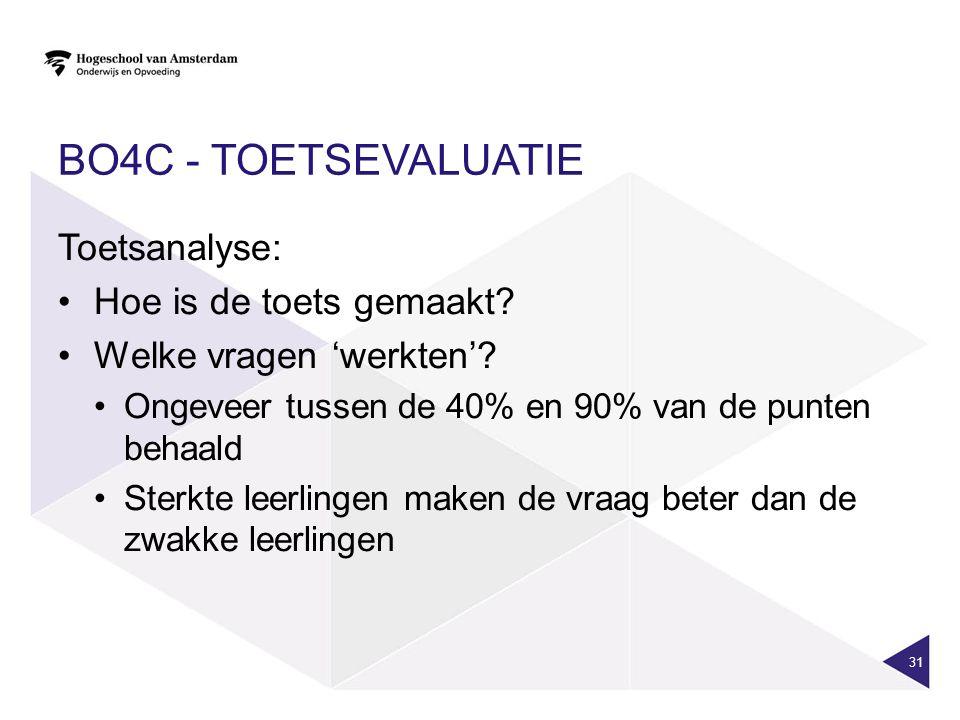 BO4c - toetsevaluatie Toetsanalyse: Hoe is de toets gemaakt