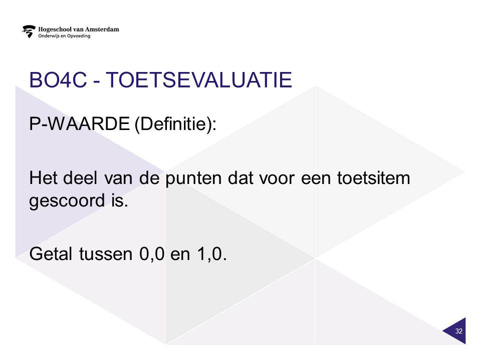 BO4c - toetsevaluatie P-WAARDE (Definitie): Het deel van de punten dat voor een toetsitem gescoord is.