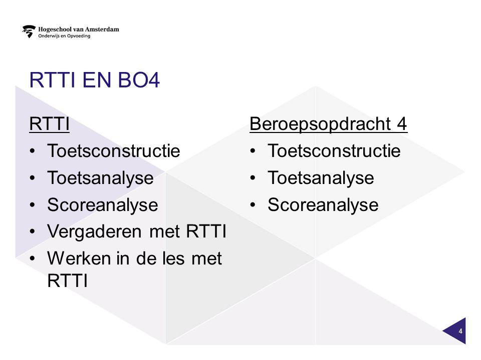 RTTI en BO4 RTTI Toetsconstructie Toetsanalyse Scoreanalyse