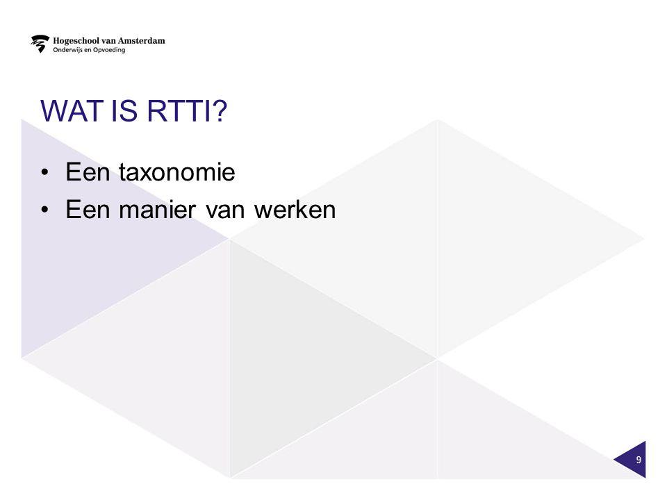 Wat is RTTI Een taxonomie Een manier van werken