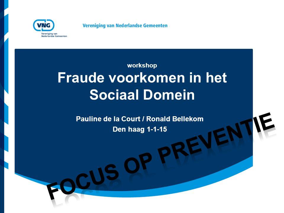 workshop Fraude voorkomen in het Sociaal Domein