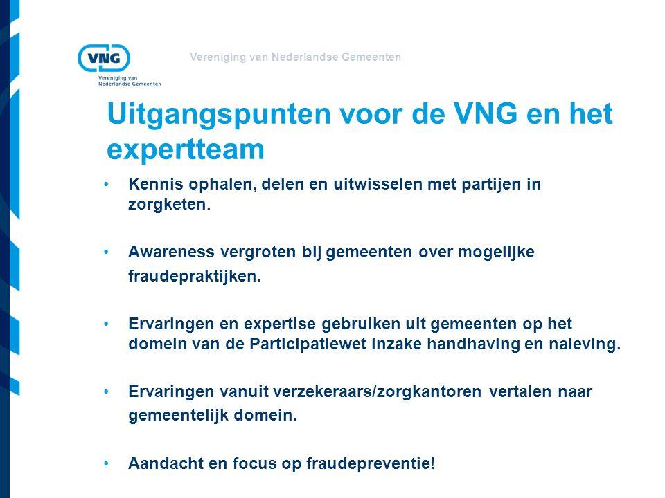 Uitgangspunten voor de VNG en het expertteam