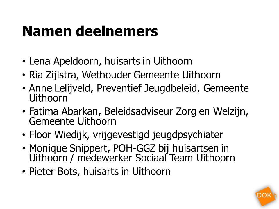 Namen deelnemers Lena Apeldoorn, huisarts in Uithoorn