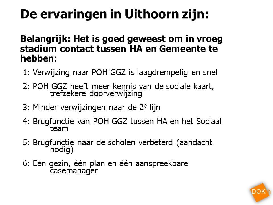 De ervaringen in Uithoorn zijn: Belangrijk: Het is goed geweest om in vroeg stadium contact tussen HA en Gemeente te hebben: