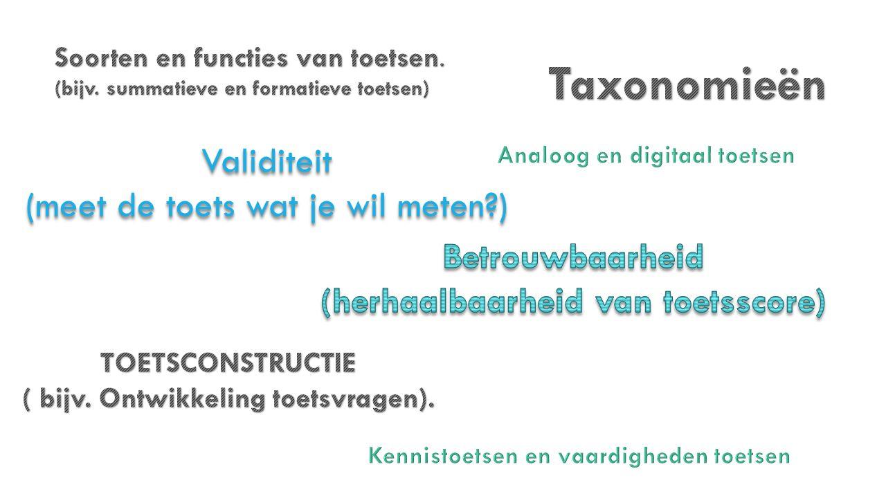 Taxonomieën Validiteit (meet de toets wat je wil meten )