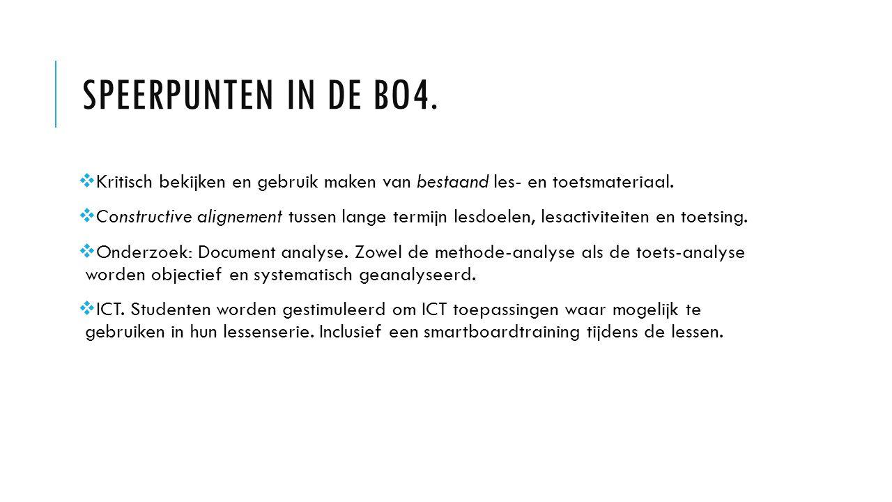 Speerpunten in de Bo4. Kritisch bekijken en gebruik maken van bestaand les- en toetsmateriaal.