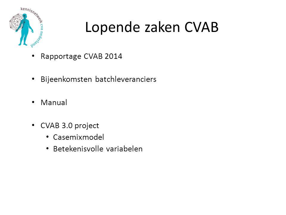 Lopende zaken CVAB Rapportage CVAB 2014