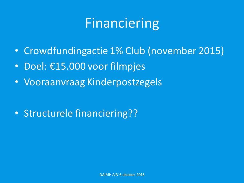 Financiering Crowdfundingactie 1% Club (november 2015)