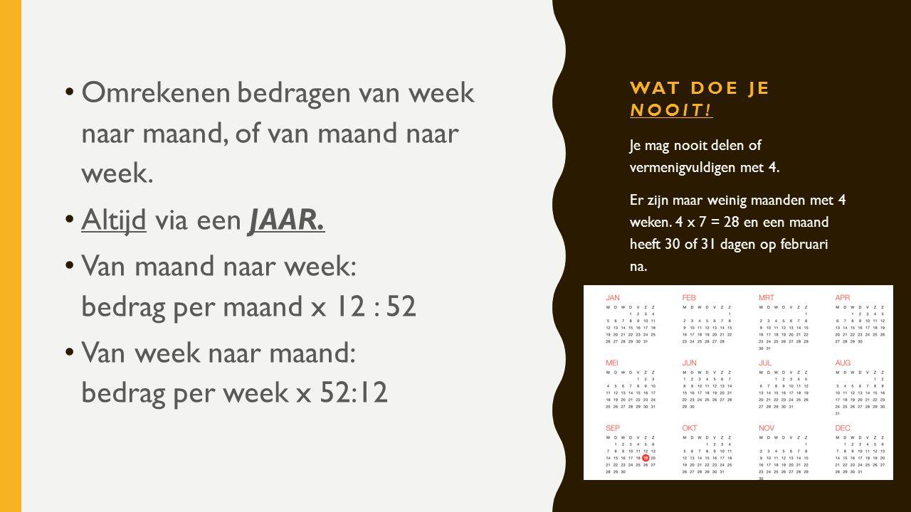 Omrekenen bedragen van week naar maand, of van maand naar week.