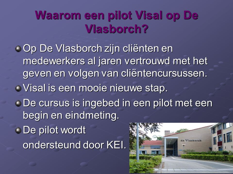 Waarom een pilot Visal op De Vlasborch