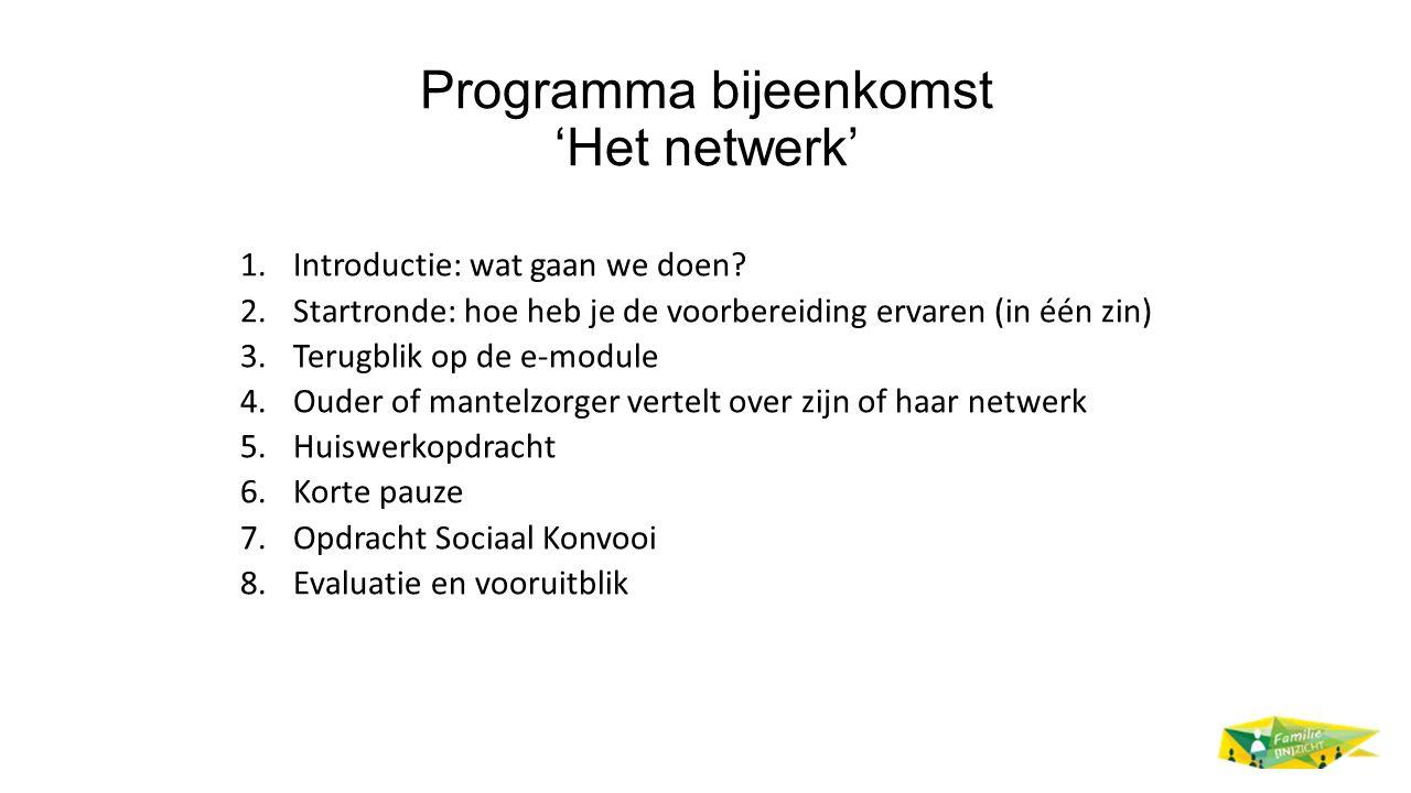 Programma bijeenkomst 'Het netwerk'
