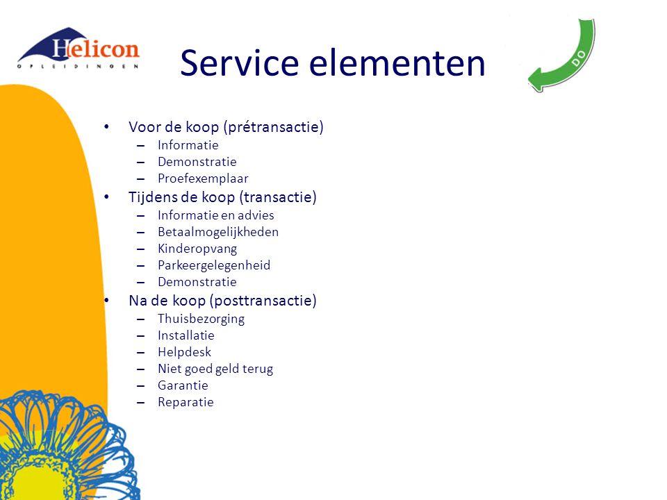 Service elementen Voor de koop (prétransactie)